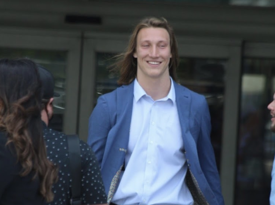 A day after being drafted first overall by the Jacksonville Jaguars, Trevor Lawrence arrived in his new city and was seen taking in the new sights