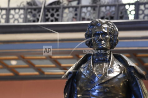 A statue of former Vice President John C. Calhoun, a South Carolina native, stands in the lobby of the Statehouse on Tuesday, Jan. 12, 2021, in Columbia, S.C. Republican South Carolina legislative leaders are unlikely this year to give permission to local governments or colleges who want to take down Confederate statues or rename buildings honoring segregationists. (AP Photo/Meg Kinnard)