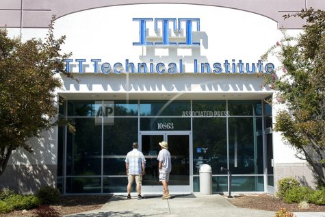 Students find the doors locked to the ITT Technical Institute campus in Rancho Cordova, Calif. The U.S. Education Department says it