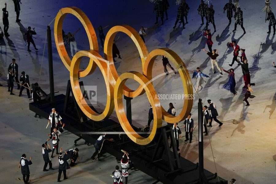Actors perform during the opening ceremony at the Olympic Stadium at the 2020 Summer Olympics, Friday, July 23, 2021, in Tokyo. (AP Photo/Morry Gash)