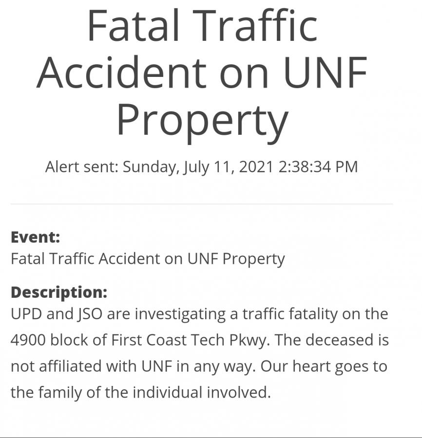 Screenshot of the alert