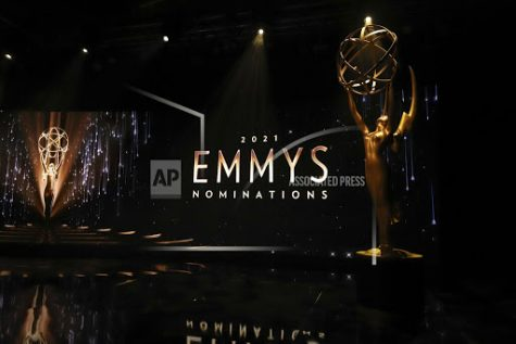 An Emmy statuette is seen on set during the virtual 73rd Emmy Awards Nominations Announcements via live streaming on Emmys.com from ShowPro Live Studios on Tuesday, July 13, 2021 in Los Angeles. (Photo by Danny Moloshok/Invision for the Television Academy/AP Images)