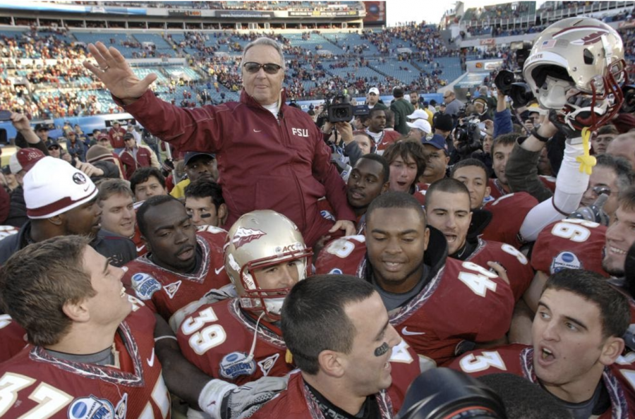 Featured image: Bobby Bowden celebrates with his team following a victory over West Virginia in the 2010 Gator Bowl in Jacksonville, his final game (The Florida Times-Union/Bob Self)