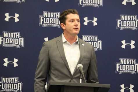 UNF Director of Athletics Nick Morrow speaks at media day, revealing the arena renovation plans to those in attendance.